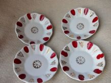 4 X VINTAGE BOLD DESIGN GILDED CHINA DISHES HANDPAINTED RED RIM PORLAND 4.5""